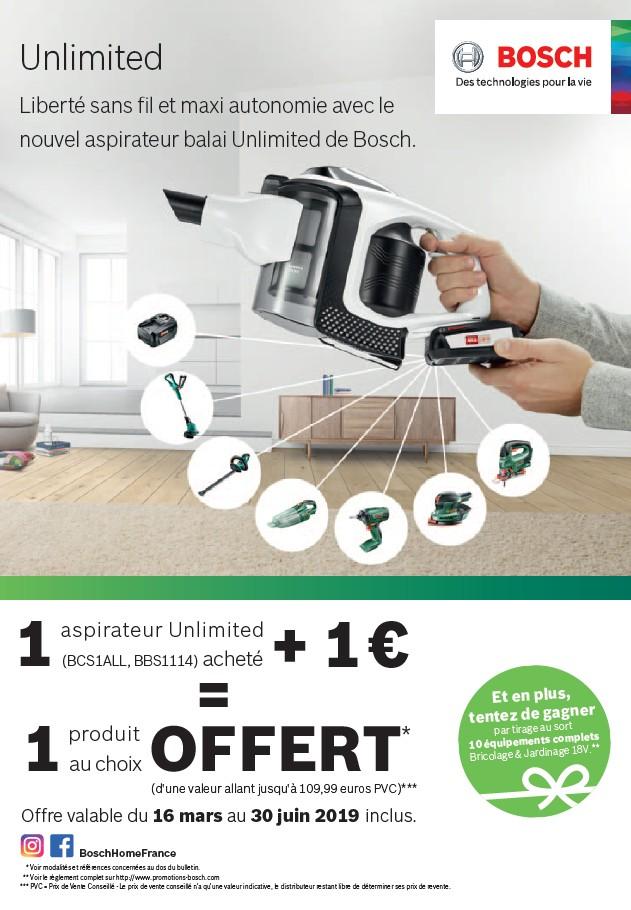 1 ASPIRATEUR UNLIMITED  +1€ = 1 PRODUIT AU CHOIX OFFERT