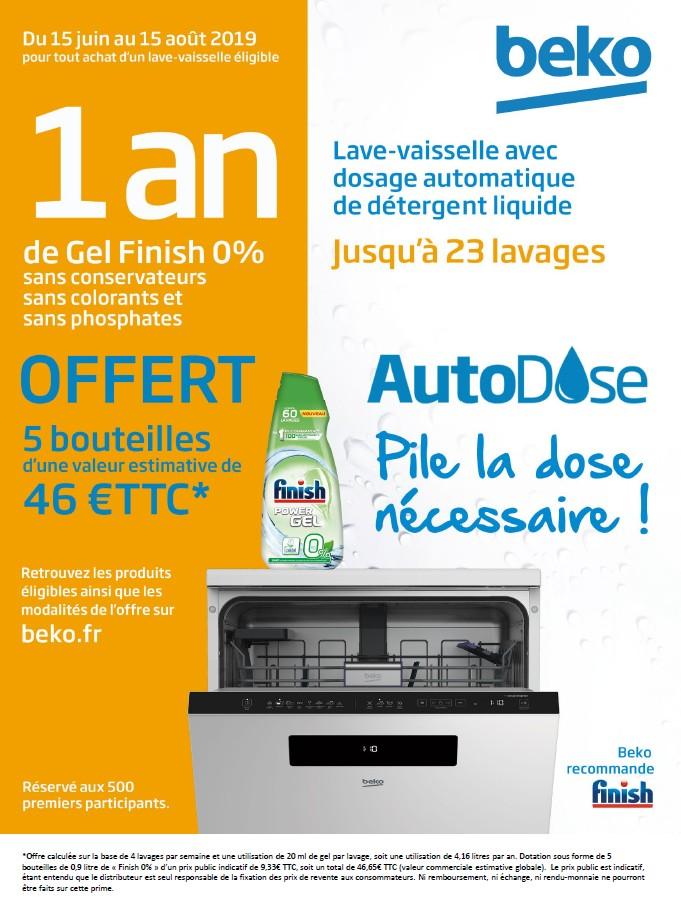 1 AN DE GEL FINISH 0% OFFERT POUR L'ACHAT D'UN LAVE VAISSELLE AUTODOSE