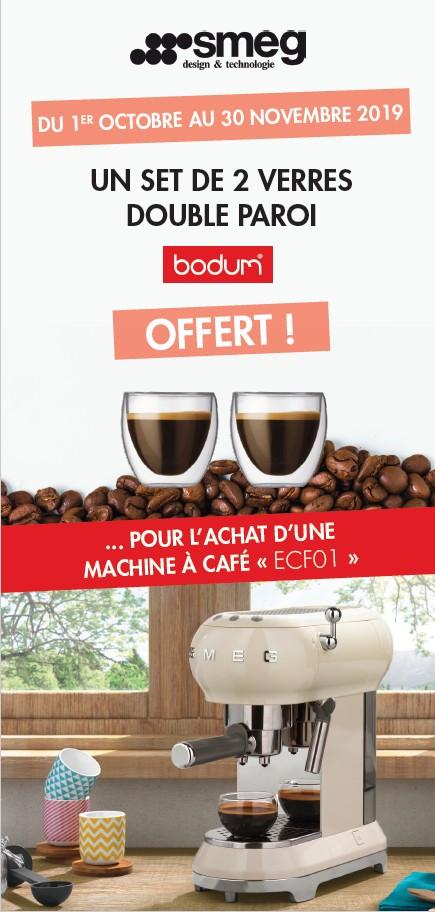 UN SET DE 2 VERRES DOUBLE PAROI OFFERT POUR L'ACHAT D'UNE MACHINE A CAFE