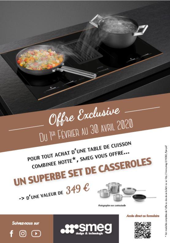 Pour tout achat d'une table de cuisson combinée hotte, SMEG vous offre un set de casserole d'une valeur de 349 €