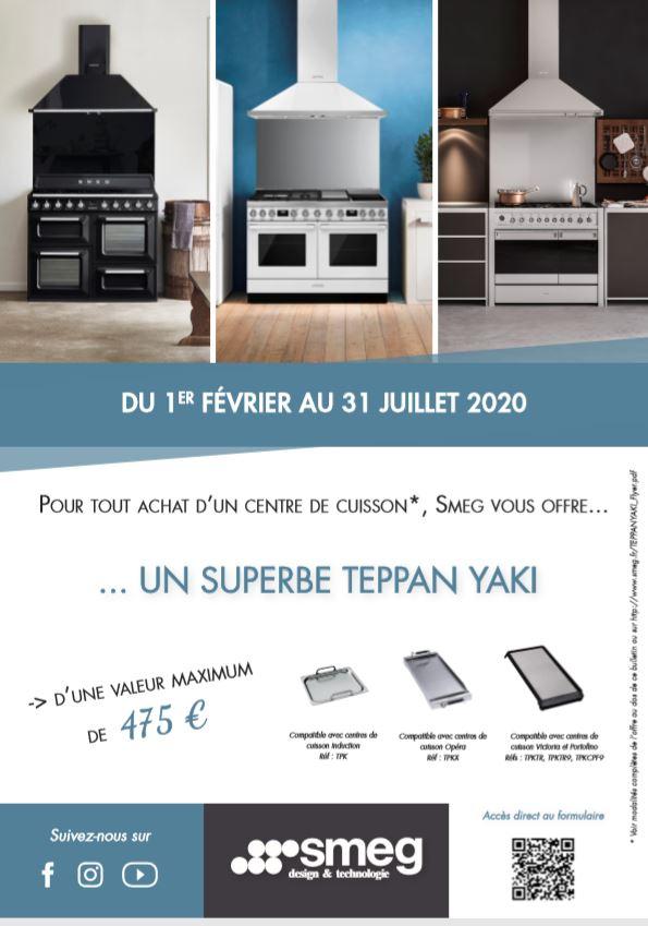 Pour tout achat d'un centre de cuisson, SMEG vous offre... ... UN SUPERBE TEPPAN YAKI d'une valeur maximum de  475 €