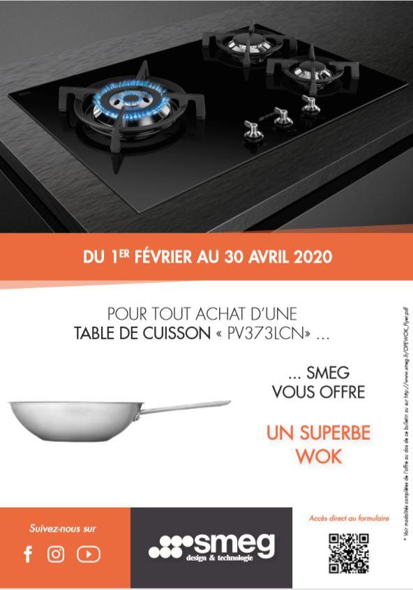 Pour tout achat D'UNE TABLE DE CUISSON « PV373LCN», SMEG vous offre UN SUPERBE WOK