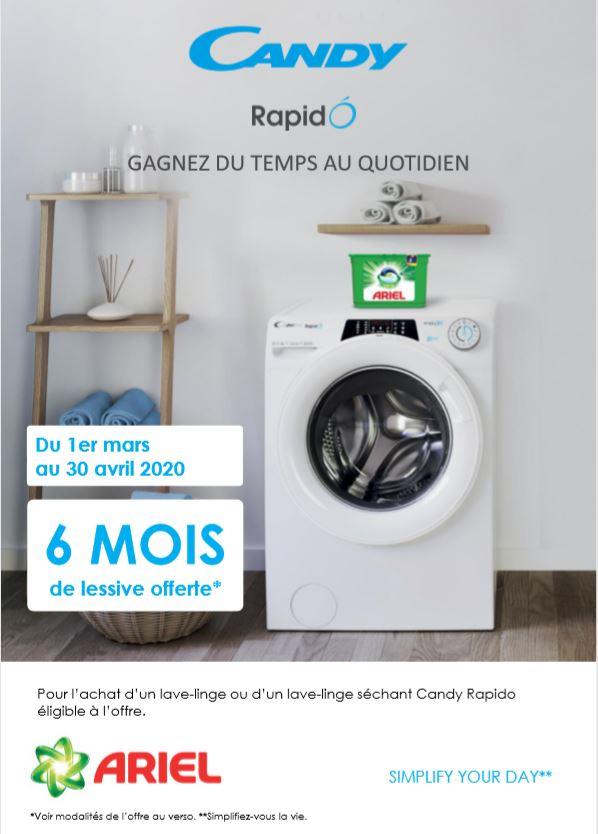 6 mois de lessive offert pour l'achat d'un lave-linge ou d'un lave-linge séchant Candy Rapido éligible à l'offre