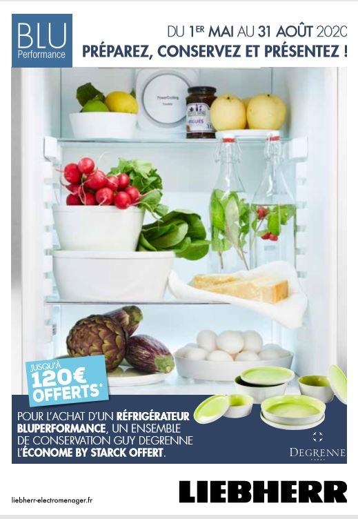 Offre de remboursement : jusqu'à 120 euros offert pour l'achat d'un réfrigérateur Bluperformance et un ensemble de conservation Degrenne offert !