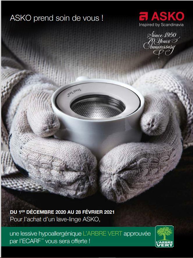 DU 1ER DÉCEMBRE 2020 AU 28 FÉVRIER 2021 Pour l'achat d'un lave-linge ASKO, une lessive hypoallergénique L'ARBRE VERT approuvée par l'ECARF** vous sera offerte !
