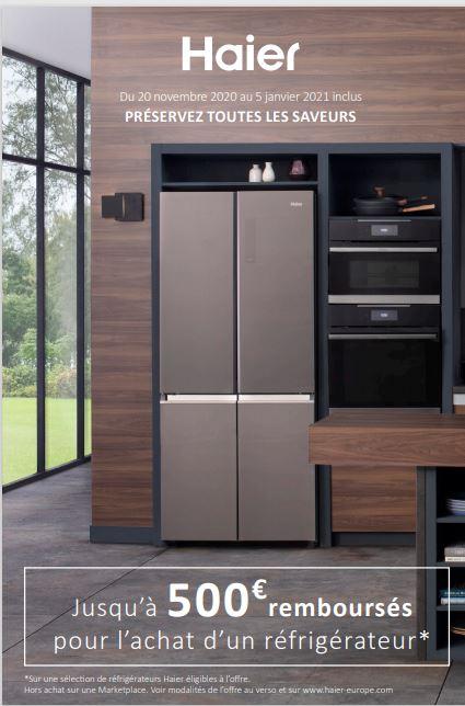 Du 20 novembre 2020 au 5 janvier 2021 inclus PRÉSERVEZ TOUTES LES SAVEURS ! Jusqu'à 500€ remboursés pour l'achat d'un réfrigérateur